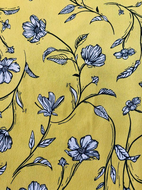 Tissu Jaune Fleuri - Atelier à la Réunion (974) - Couturière et styliste de Mode RikaRika