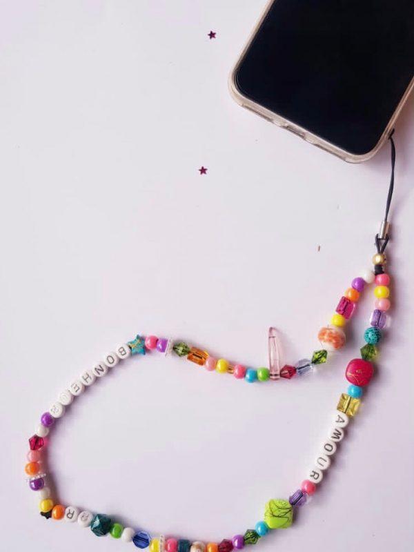 """Bijou de téléphone - Phone Strap """"AMOUR / BONHEUR"""" RikaRika 20 cm"""
