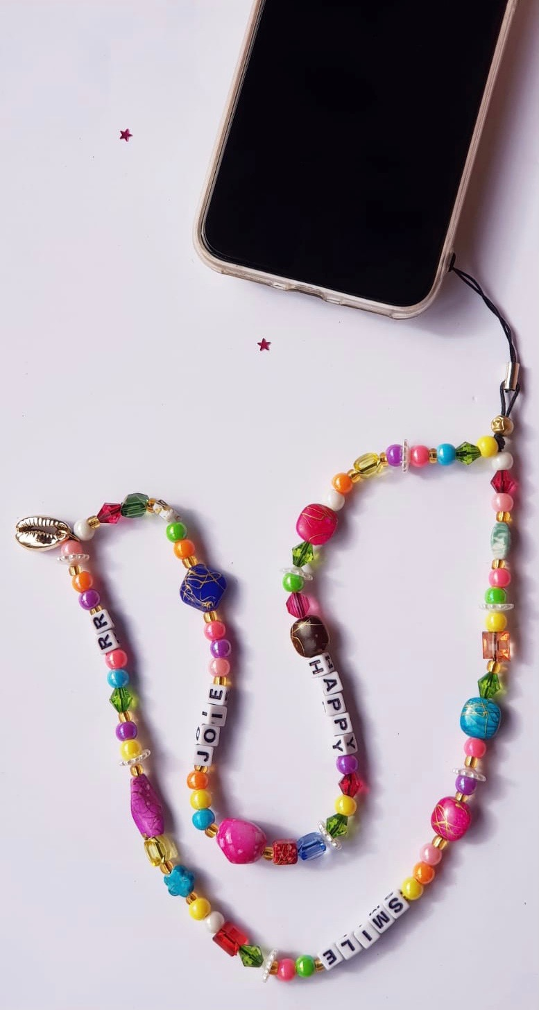"""Bijou de téléphone - Phone Strap """"HAPPY/ SMILE / JOIE"""" RikaRika 30 cm"""