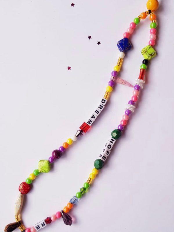 """Bijou de téléphone - Phone Strap """"DREAM / HOPE"""" RikaRika 20 cm"""