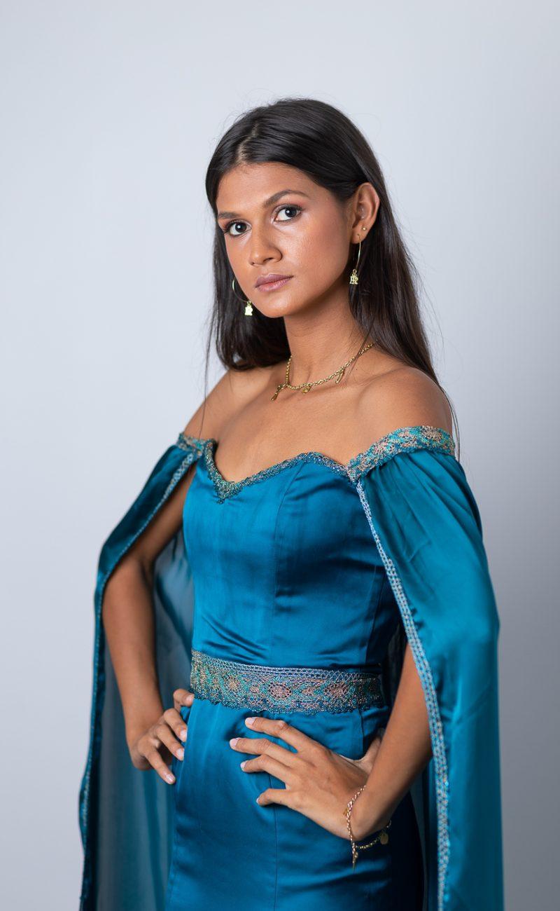 Robe bleu orientale fabrication sur-mesure Atelier à la Réunion (974) Made in France couturière styliste RikaRika