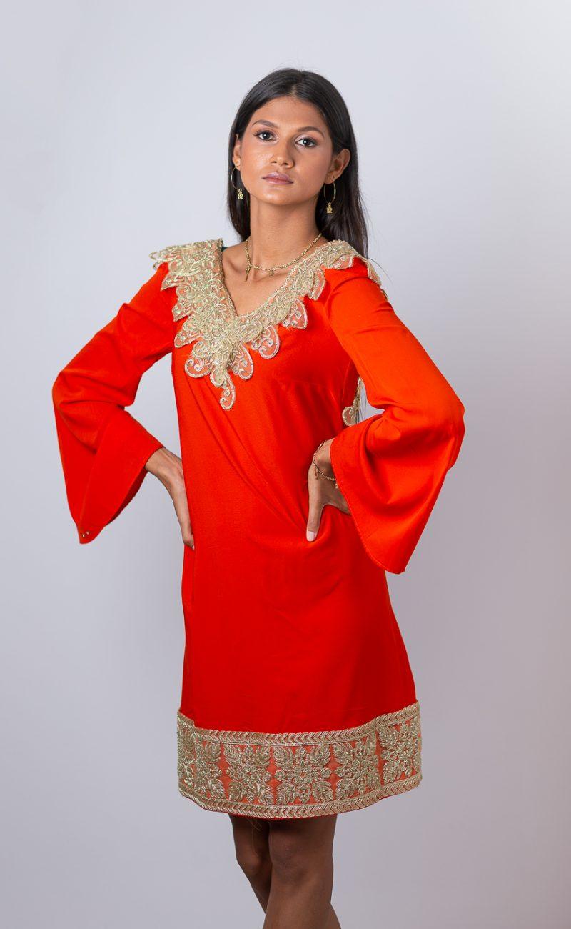 Robe courte inspiration orientale fabrication sur-mesure Atelier à la Réunion (974) Made in France couturière styliste RikaRika