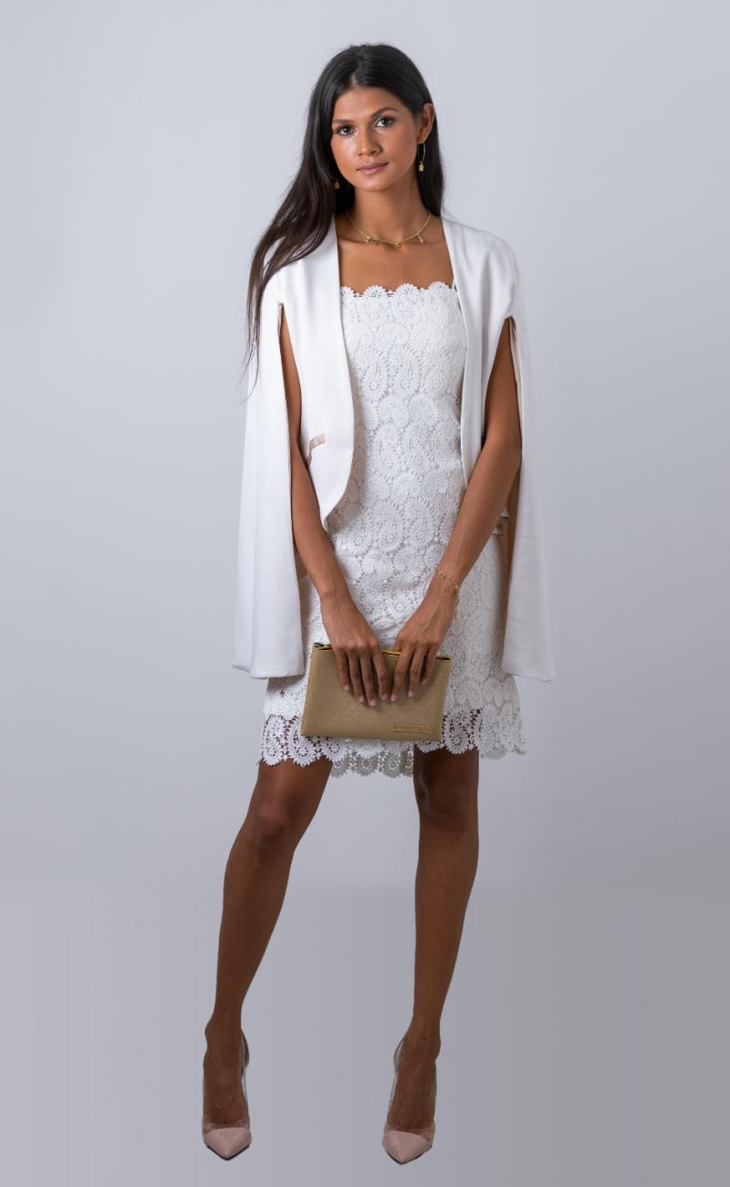 robe de cocktail blanche en dentelle avec veste faite sur mesure à la Réunion (974)